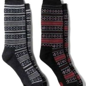 2-Pk Soft Crew Socks Arch Support Black/Red Nordic